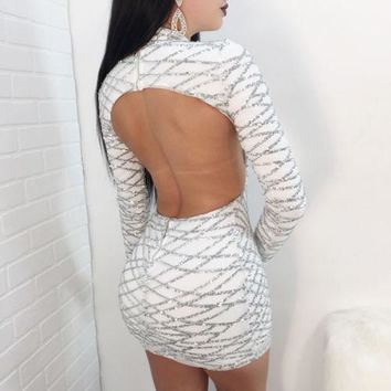 Sexy Backless Gold Sequin Dress Women Autumn Winter Long Sleeve Sparkly Bodycon Mini Dress Night out Club Short Party Dresses