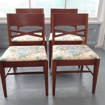 Vintage, Danish Modern, Mid Century Dining Chairs, Kitchen Chairs, Side Chairs, Upholstered Seats, Wood, Set of Four