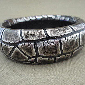 Black and Silver Reptile Snake Skin Bangle Bracelet