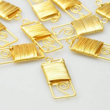 Wire Wrapped Large Pendant, Matte Gold Plated Pendant, 1 Pc, Jewelry Findings