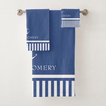 Nautical Stripes - Blue & White - Add Name Bath Towel Set