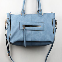 Textured Vegan Leather Zipper Trim Satchel Bag