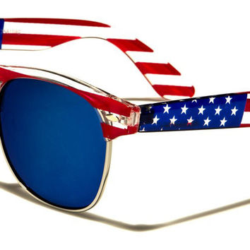USA Flag Wayfarer Unisex Sunglasses with Blue Mirrored Lenses