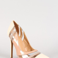 Shoe Republic Tri-Tone Patent Clear Panel Pointy Toe Pump Color: Nude, Size: 9