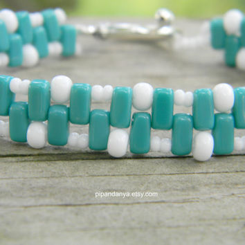 Handmade Brick Bracelet, Turquoise and White
