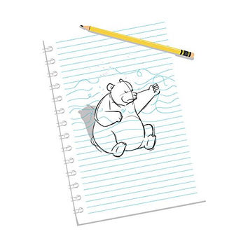 'Sketching Escape' Funny Bear Drawing Punching on Paper - Vinyl Sticker