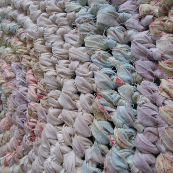 "Handmade Crocheted  Rag Rug in  beautiful soft pastels ""Easter Candy"""
