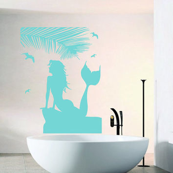 Wall Decals Girl Mermaid Palm Tree Birds People Beauty Salon Bathroom Home Vinyl Decal Sticker Kids Nursery Baby Room Decor kk457