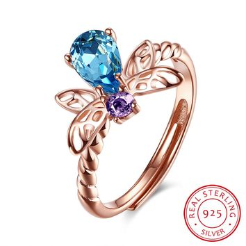 925 Sterling Silver Ring Bee open ring jewelry
