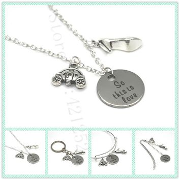 12pcs/lot The Cinderella quote So this is love necklace bracelet keyring bookmark slipper and pumpkin carriage charm necklace