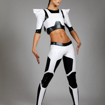 Stormtrooper Leggings, Black & White Spandex Jeans, Exclusive Star Wars Costume, Unique Stage Outfit, Sci Fi Clothing, by LENA QUIST