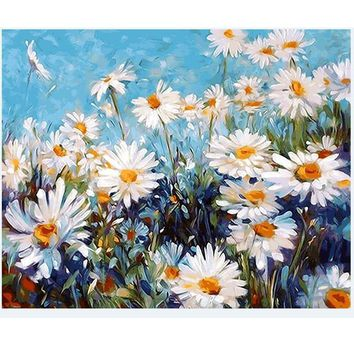 1PC White Flower Oil Painting By Numbers Wall Pictures For Living Room Coloring By Numbers Canvas Painting Wall Art Decor