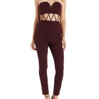 Burgundy Strapless Caged-Waist Jumpsuit by Charlotte Russe
