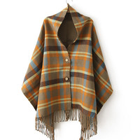 Women's Cashmere Shawl Scarf with Grid Tassel Pattern