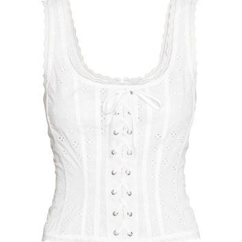 Top with Eyelet Embroidery - from H&M