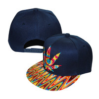 Marijuana Pot Leaf Weed Canabis Embroidered Flat Bill Snapback Cap - Rainbow Multi Color