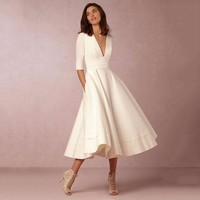 Retro 60s Swing V-neck Long Wavy Dress