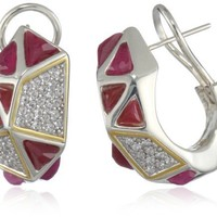 "Kara Ross ""Pyramid"" Ruby and White Sapphires Huggie Earrings"
