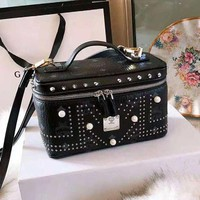 MCM Hot Sale Fashionable Leather Handbag Shoulder Bag Rivet Crossbody Cosmetic Bag Black