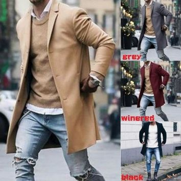 New Fashion Men Wool Coat Winter Trench Coat Outwear Overcoat Long Sleeve Jacket