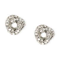 Loose Knot Silver and Rhinestone Stud Earrings