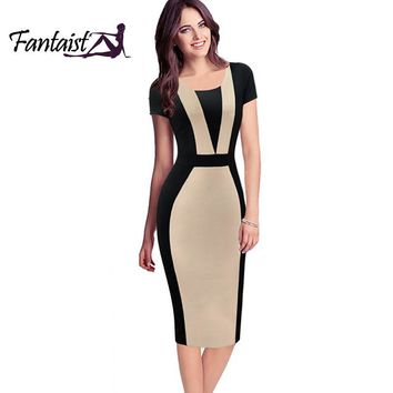 Fantaist Patchwork Contrast Color Optical Illusion Slim Wear To Work Fitted Pencil Dress Brief Causal Women Dress Summer 2016