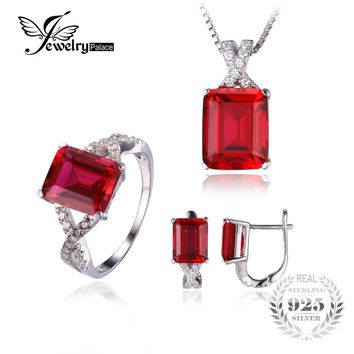 JewelryPalace Vintage Pigeon Blood Created Ruby Earring Ring Necklace Solid 925 Sterling Silver Jewelry Set Fine Jewelry