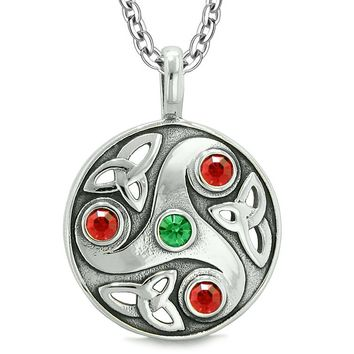 Goddess Celtic Triquetra Knot Protection AmuletCircle Royal Green Red Crystals Pendant Necklace