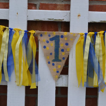 Yellow and Blue Polka dot BOY High Chair fabric banner 32 inches long ready to ship