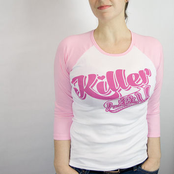 Killer pastel goth kawaii baseball tee - pink sleeves
