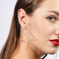 Fashion Simple Large Star Heart Shaped Hoop Earrings Jewelry for Women Girl