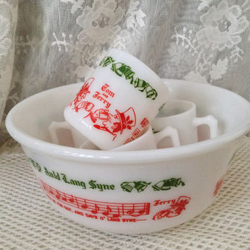 Tom and Jerry Milk Glass Egg Nog, Punch Bowl Set, Auld Lang Syne, 1940s Kitsch, Hazel Atlas Bar Display Set, Holiday, New Years Serving