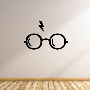 Vinyl Wall Word Decal - Harry Potter Glasses and Lightning Bolt Decal - Harry Potter - Home Goods - Car or Wall Decal