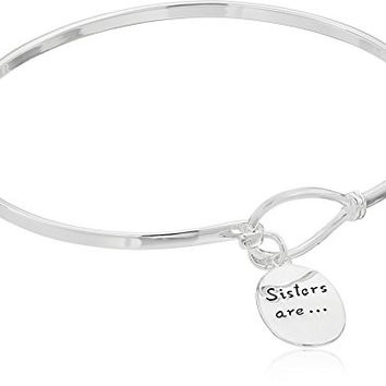 "Sterling Silver ""Sisters Are Forever Friends"" Catch Bangle Bracelet"