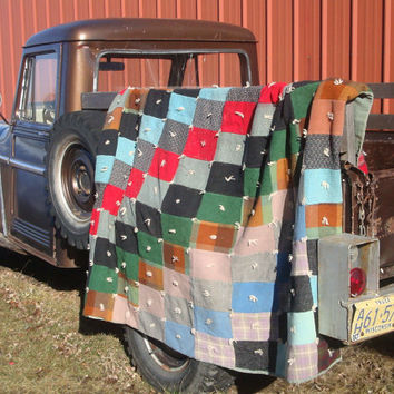 Vintage Patch Plaid Quilt or Blanket Primitive Shabby Chic
