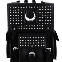 Restyle Gothic Faux Leather Iron Moon Backpack Studs Crescent Wicca Punk Bag