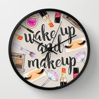 Wake Up And Make Up Wall Clock by Sara Eshak