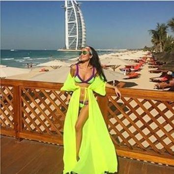 4ae3638b4d6ff One Size Beach Outings Cover up Chiffon Robe Plage Candy Color K