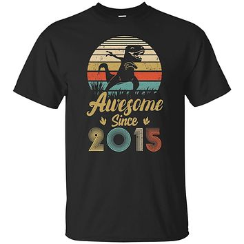 Awesome Since 2015 4th Years Old Dinosaur Birthday Gift Youth