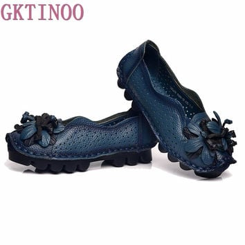 Women's Genuine Leather Vintage Cut Out Moccasins Loafers Soft  Sole Casual Flats