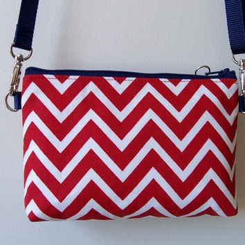 Chevron Red White NFL Stadium Regulation Size Purse/Pouch/Bag/Wallet/Cross Body/Phone Holder
