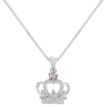 """925 Sterling Silver Clear Pink CZ Princess Crown Necklace Pendant Girls Kids 16"""""""