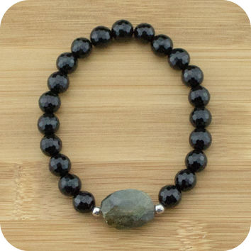 Faceted Black Onyx Yoga Jewelry Bracelet with Faceted Labradorite