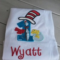 Custom Embroidered First Birthday Shirt - Cat in the Hat Birthday