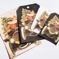 Santa's Ride Tags - Set of 4 - Christmas Tags - Vintage Santa - Santa's Car - Vintage Christmas - Variety  Sized - Thank Yous - Xmas Tags