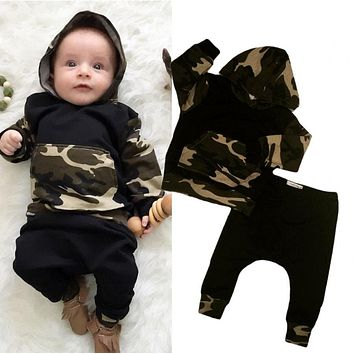USA Casual Toddler Baby Kids Boy Camo Hooded Tops Pants 2Pcs Outfits Set Clothes