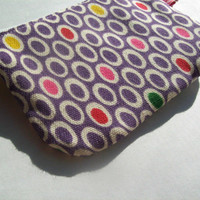 Purple Polka Dot ID Case- zippered pouch keychain or wristlet