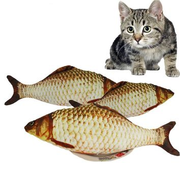 Realistic Lifelike Soft Plush Fish Cat or Dog Chew Toy with Catnip Product Supplies - FREE SHIPPING