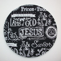 Mouse Pad mouse pad / Mat - Name of Jesus chalk board round or rectangle office accessories desk home decor