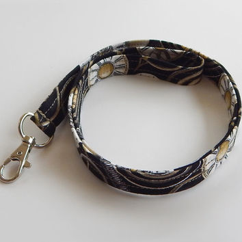 Clock Lanyard / Clocks / Steampunk Keychain / Black & Tan / Steam Punk / Key Lanyard / ID Badge Holder / Fabric Lanyard / Stop Watch